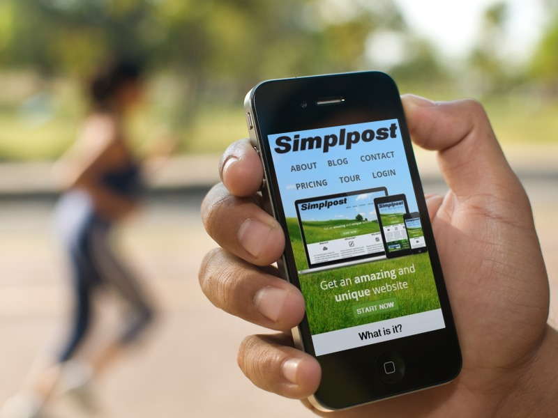 Simplpost site on a Smartphone
